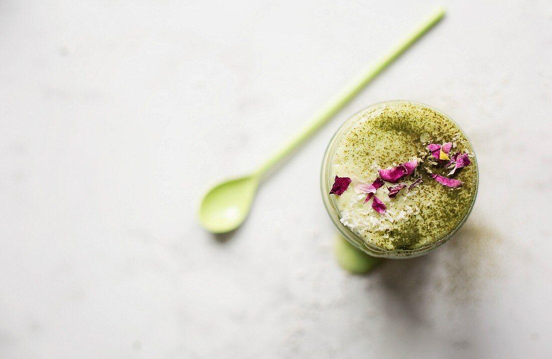 Green smoothie with avocado and matcha tea