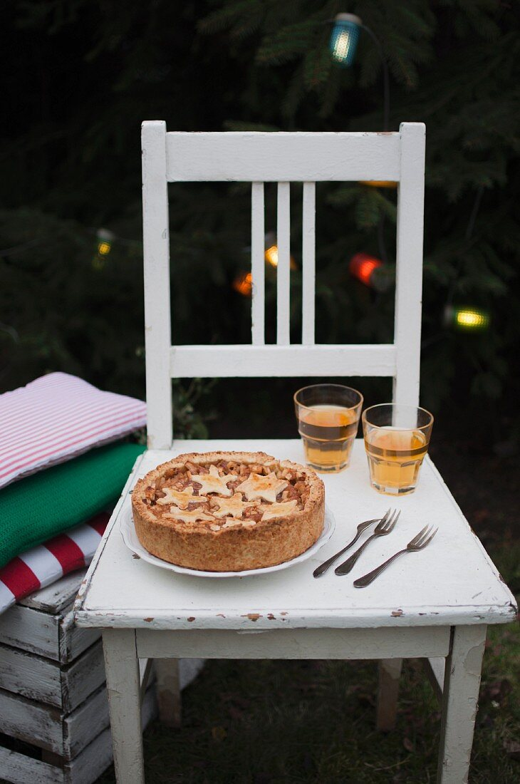 Christmas apple pie, served with apple cider