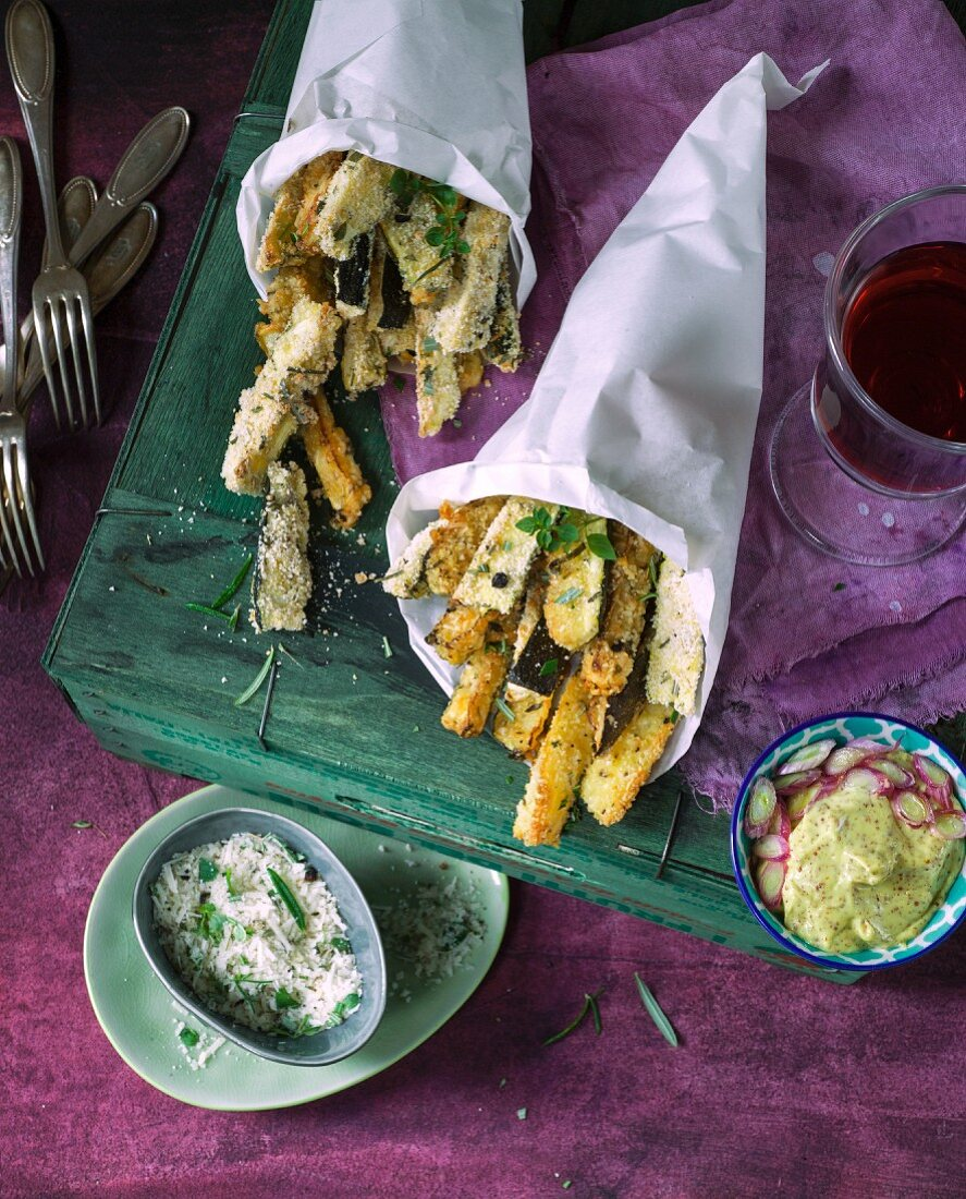 Zucchini fries with parmesan and a mustard dip
