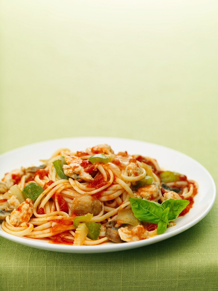 Fra Diavolo (pasta with spicy tomato sauce and shrimps)
