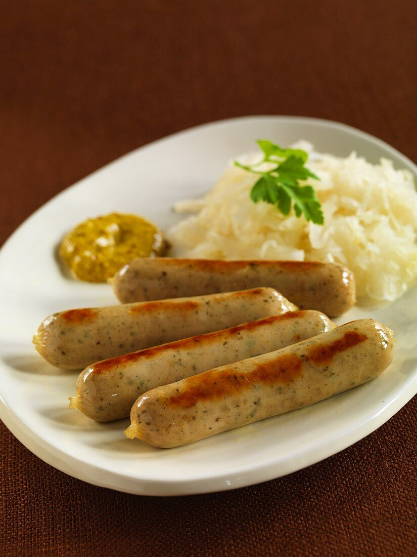 Bavarian bratwurst with sauerkraut