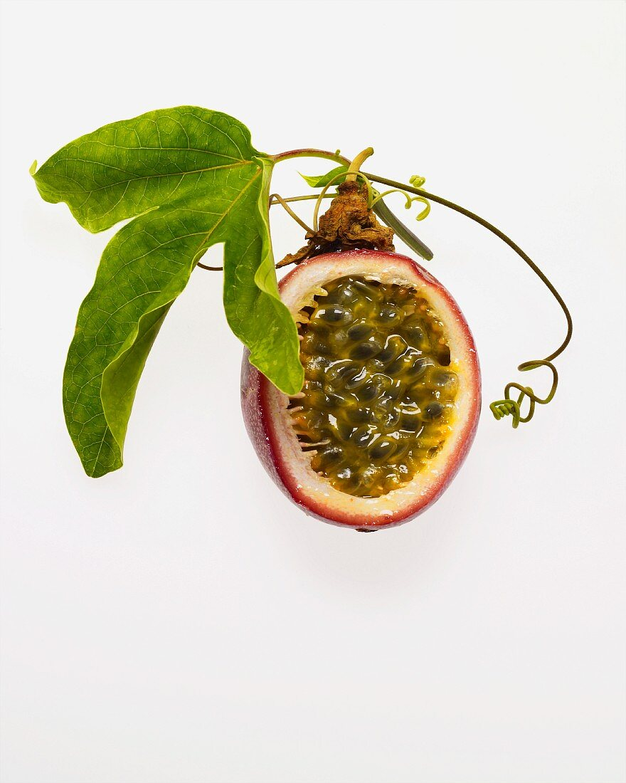 Passion fruit cut and leaves