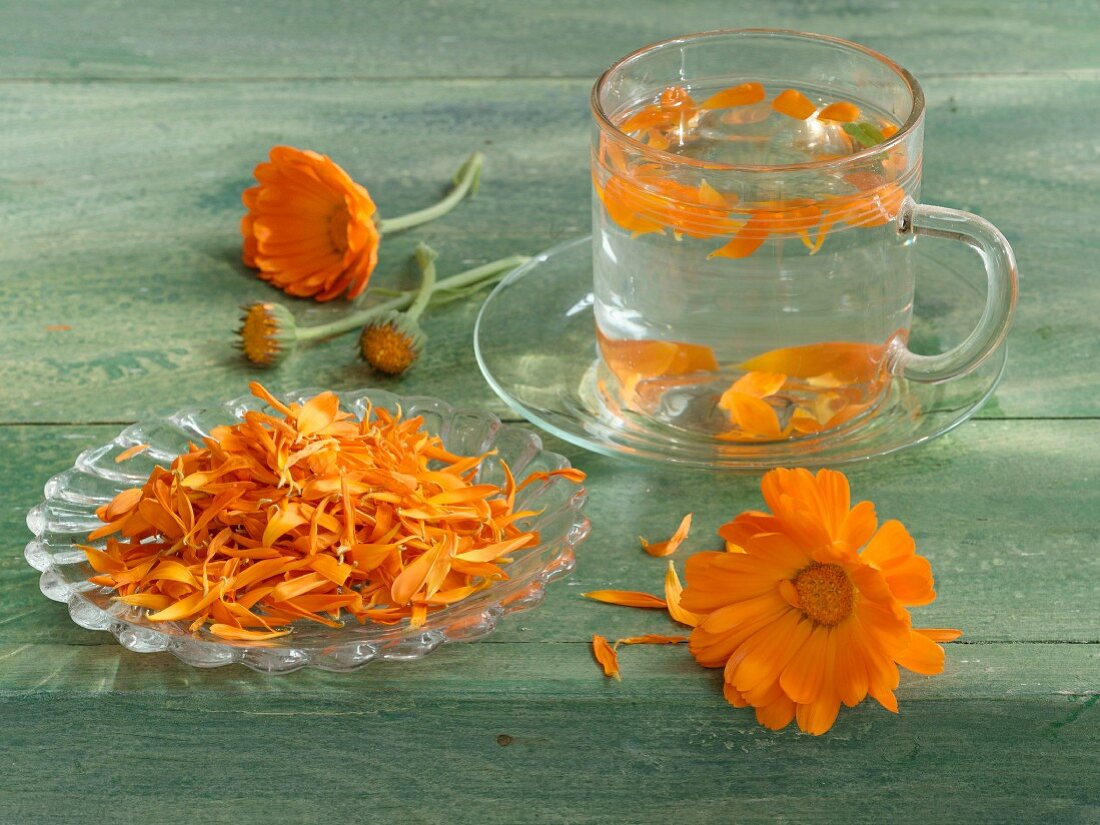 A cup of marigold tea and marigold flowers