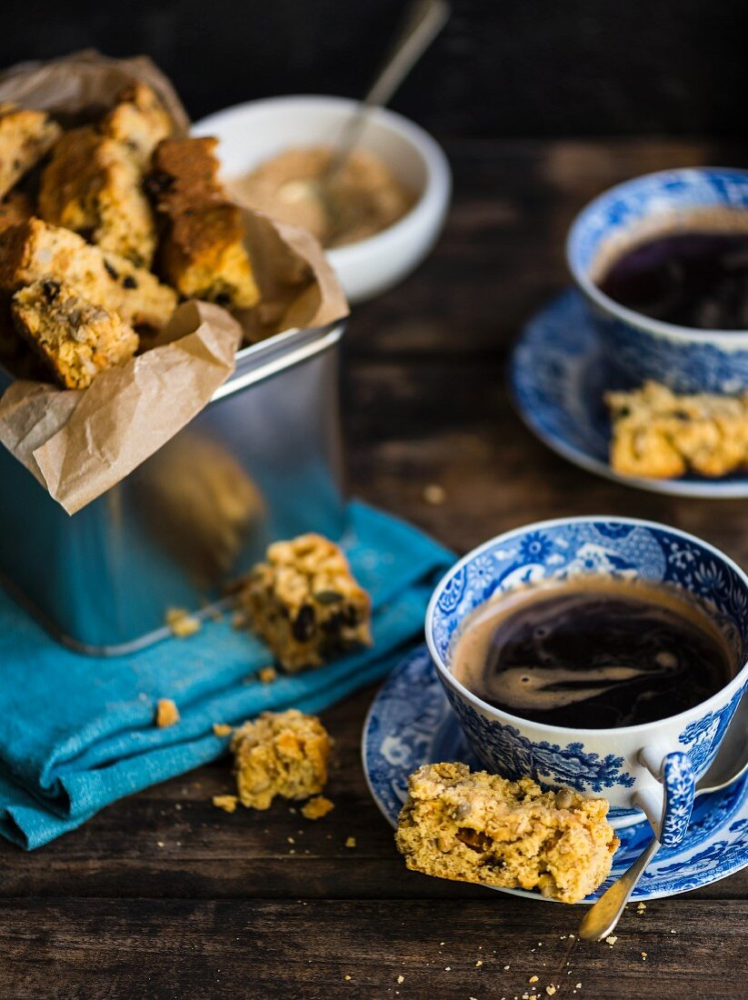 Muesli and buttermilk rusks served with coffee