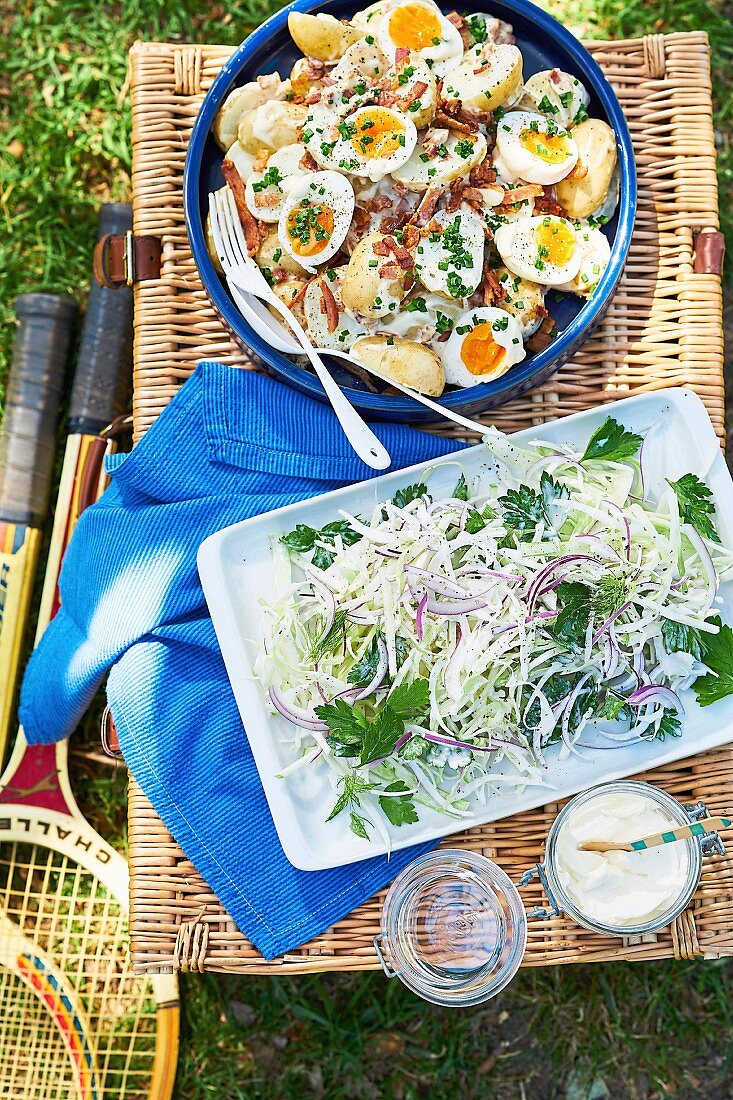 Potato and egg salad, Apple and fennel slaw