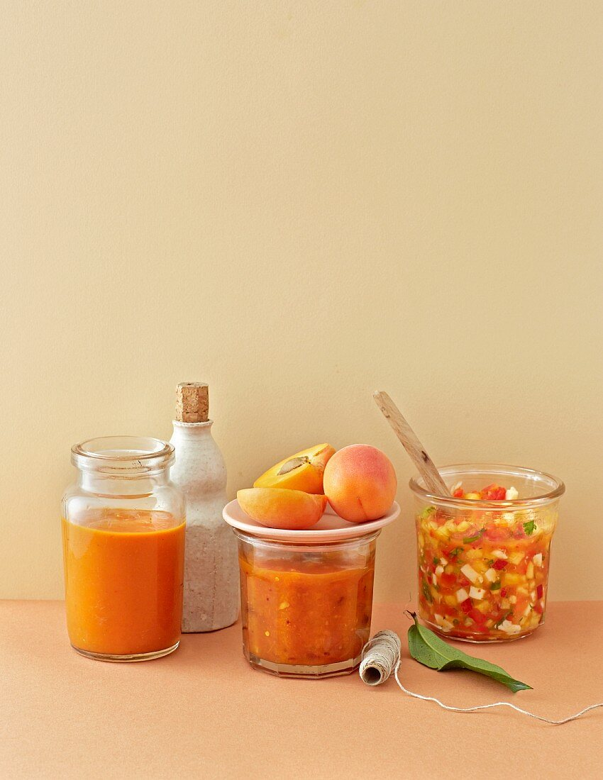 BBQ sauce with peaches, chutney with apricots and salsa with nectarines