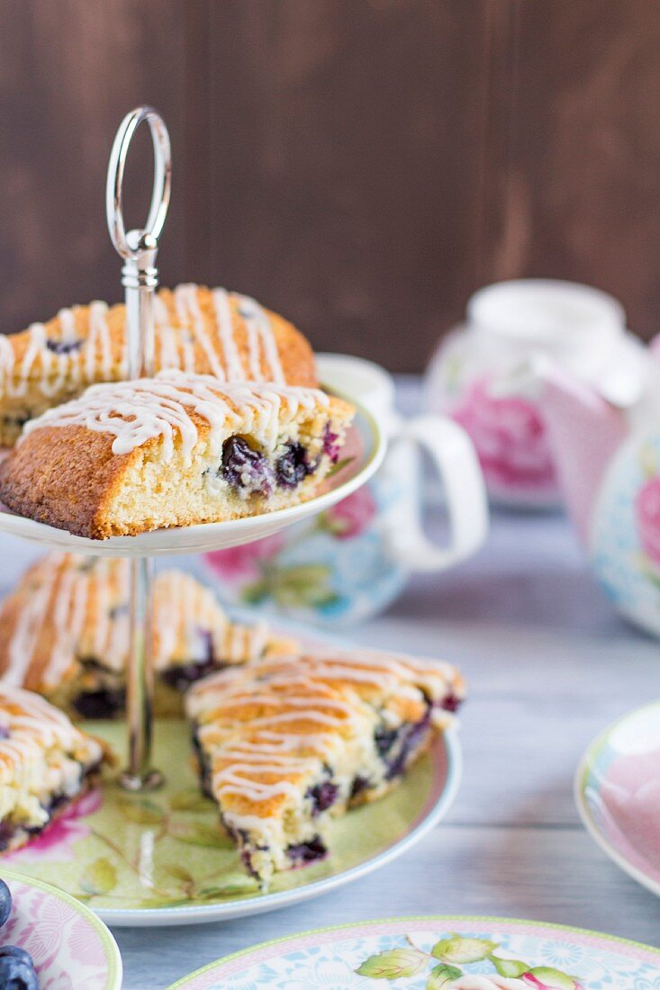 Blueberry scones on a cake stand for teatime