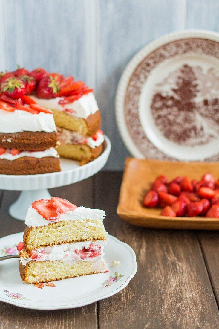 Strawberry shortcake, sliced