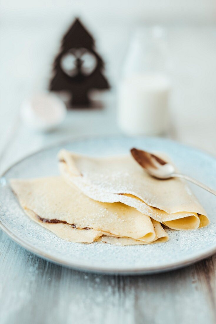 Crepes with nut and nougat cream for Christmas