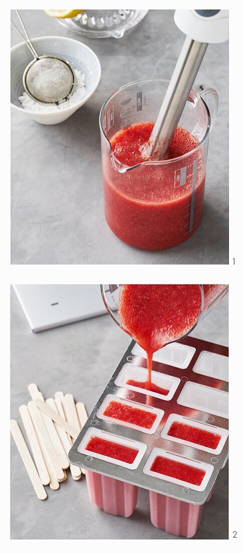How to make strawberry sorbet lollies on stalks