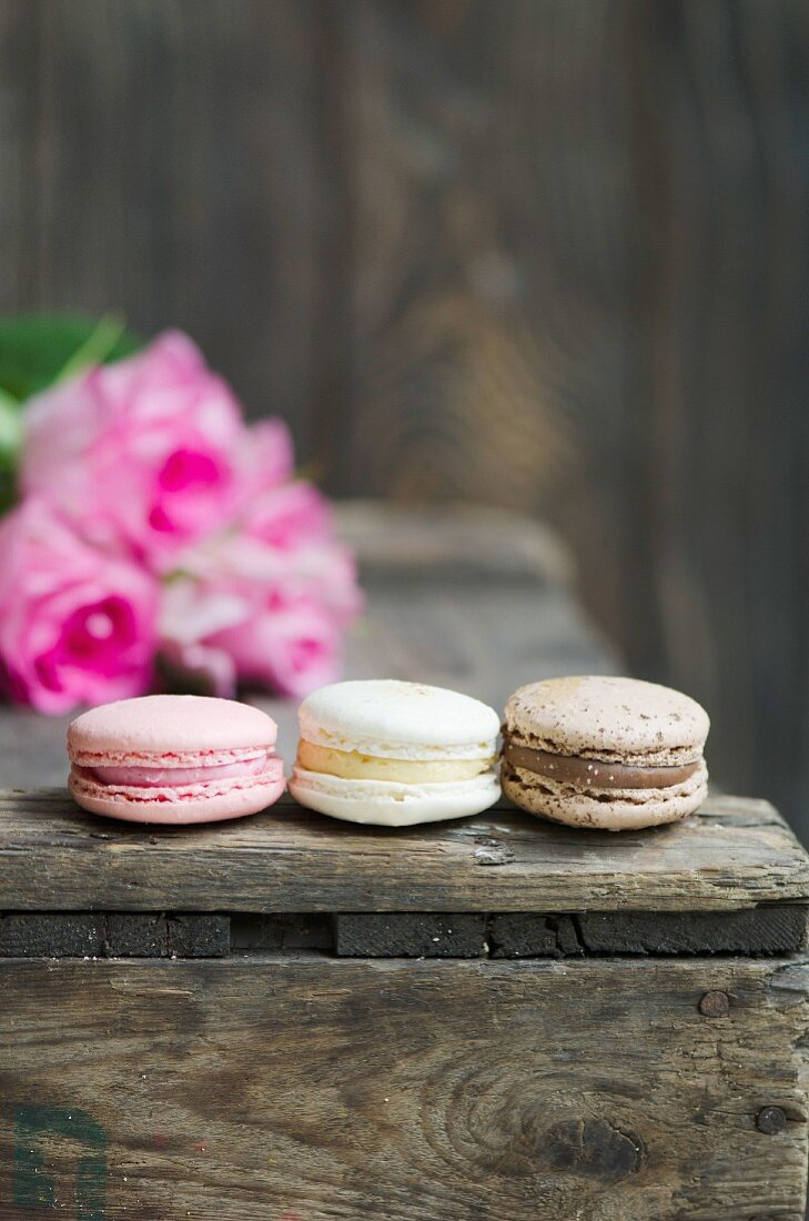 Chocolate, strawberry and vanilla macaroons