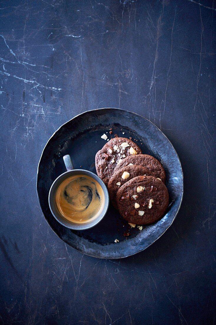 Chocolate and Salted Macadamia Cookies