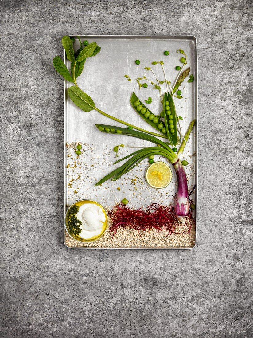 Zutaten für Quinoa-Burger als Foodbild