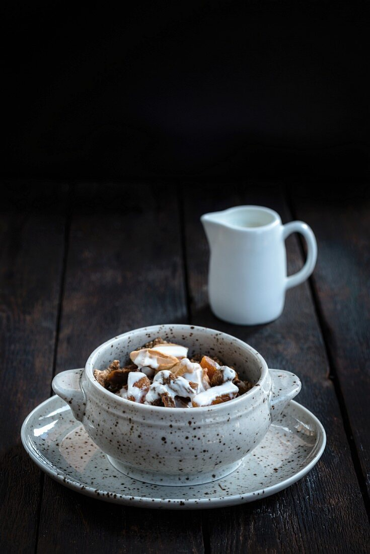 Healthy and crunchy muesli on a wooden table