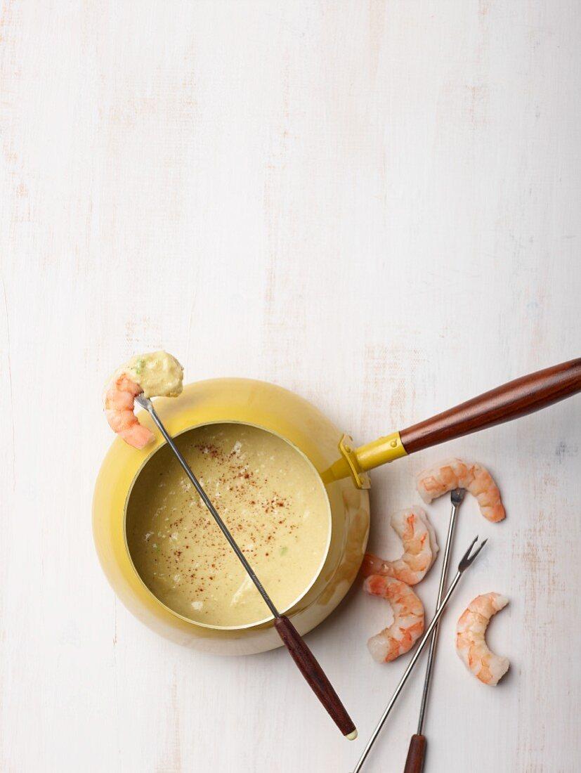Shrimp and avocado fondue