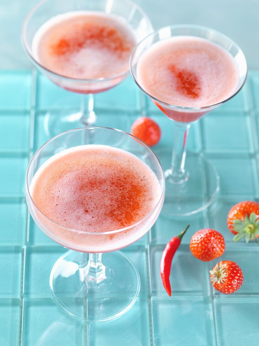 Strawberry and chili bellinis