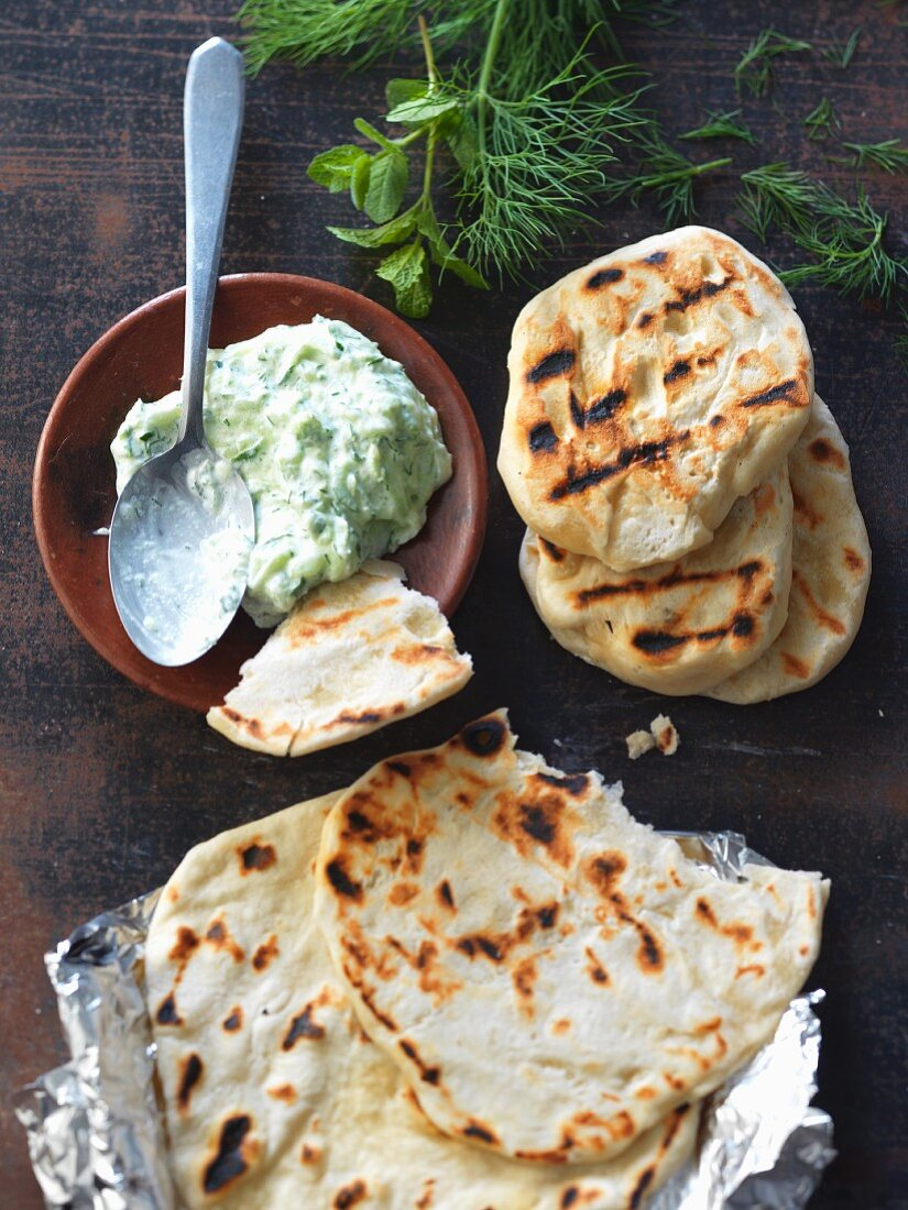Grilled bread with tzatziki