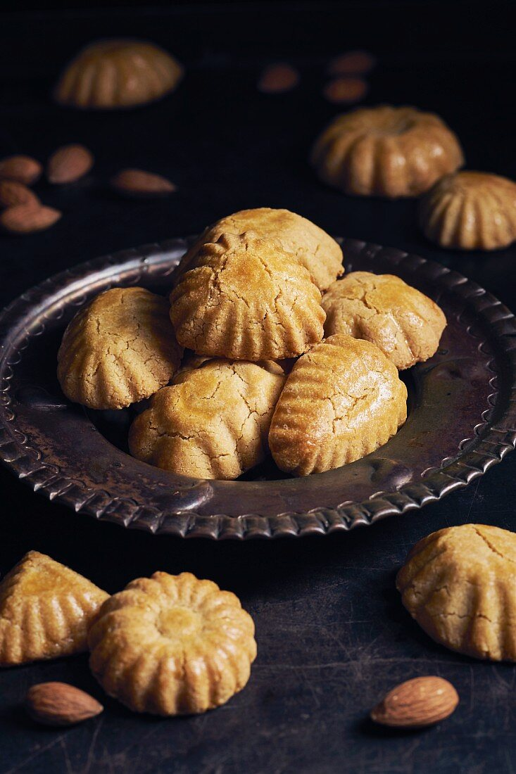 Marzipan cookies on a metal plate