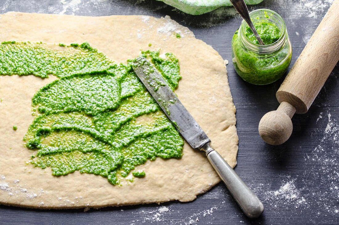 Bread dough with pesto