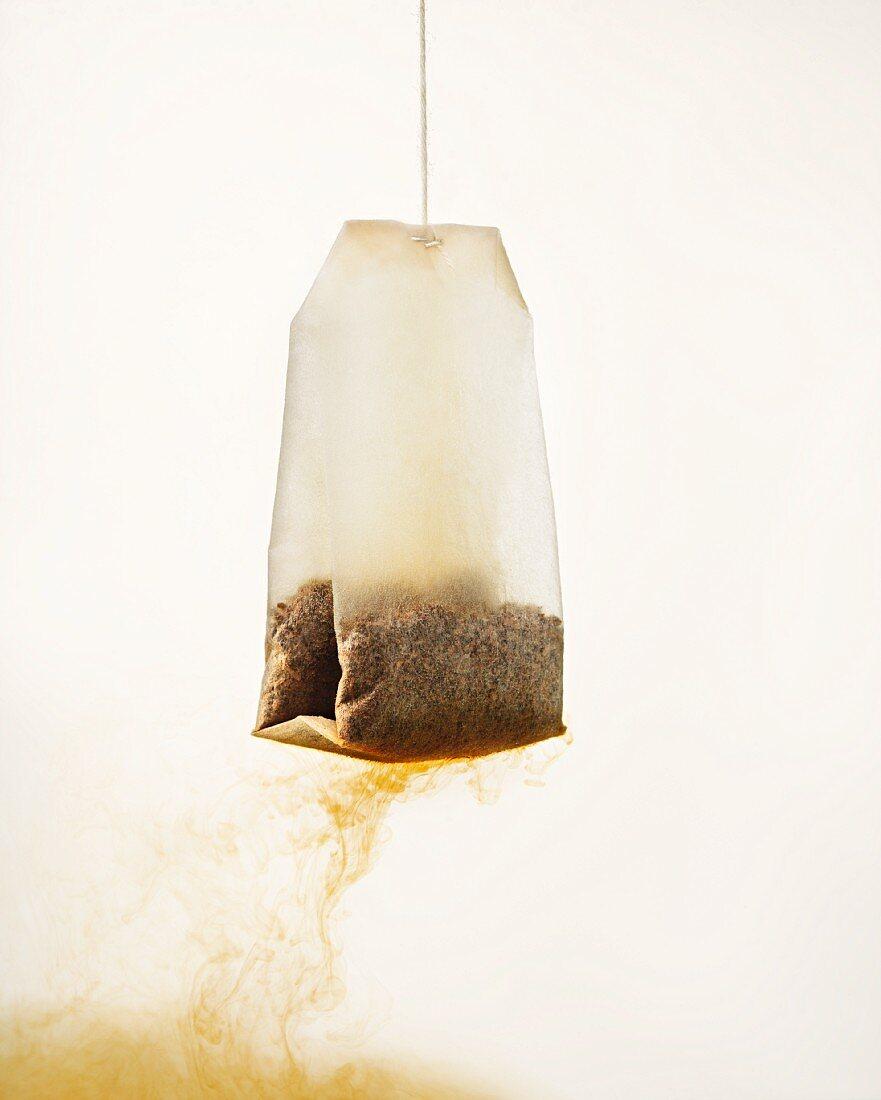 A tea bag in water