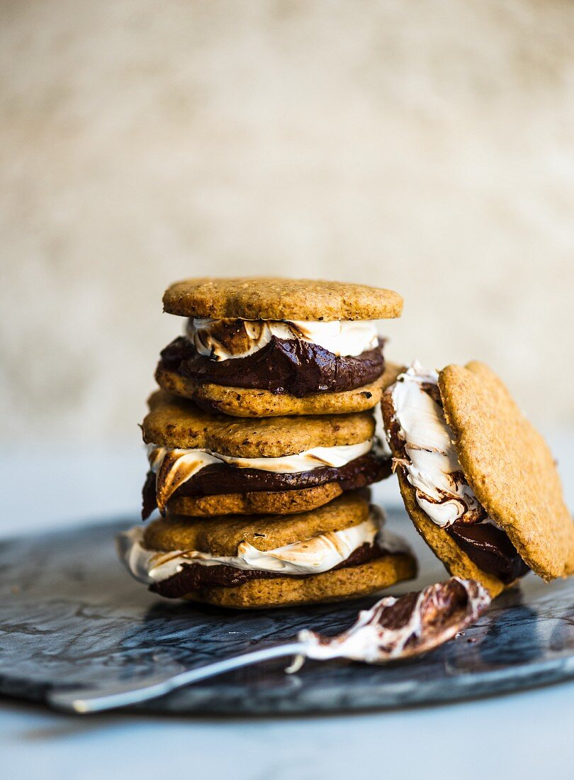 Smores cookie sandwiches, stacked