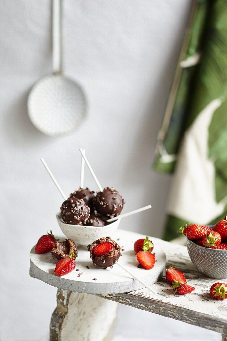 Chocolate covered strawberries on sticks