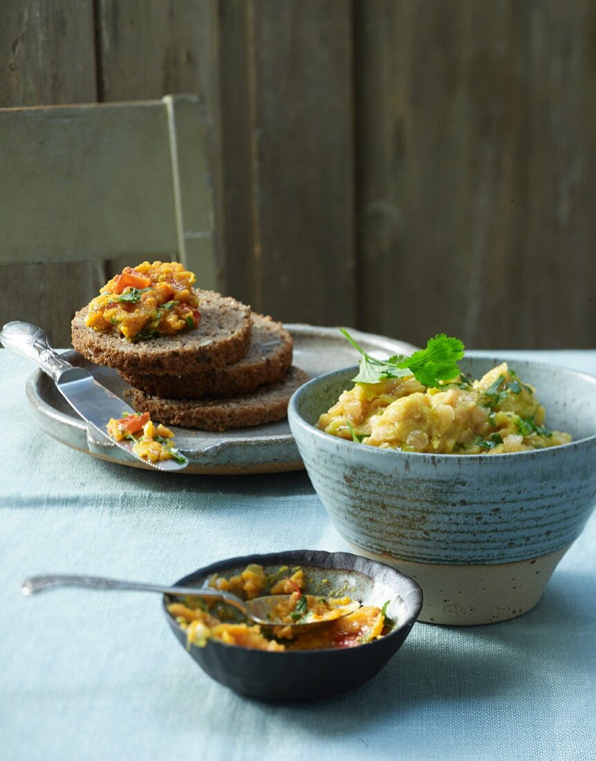 Sweet potato and curry paste and red lentil spread
