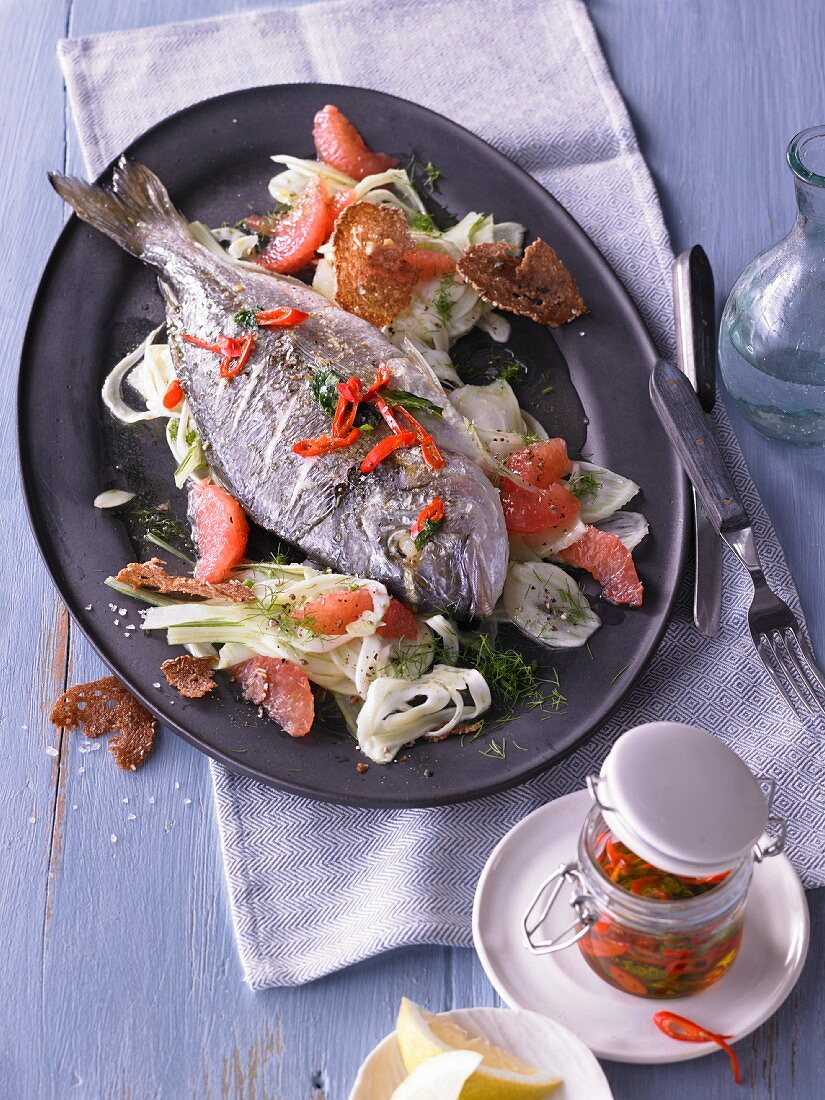 Dorade with a fennel and citrus salad