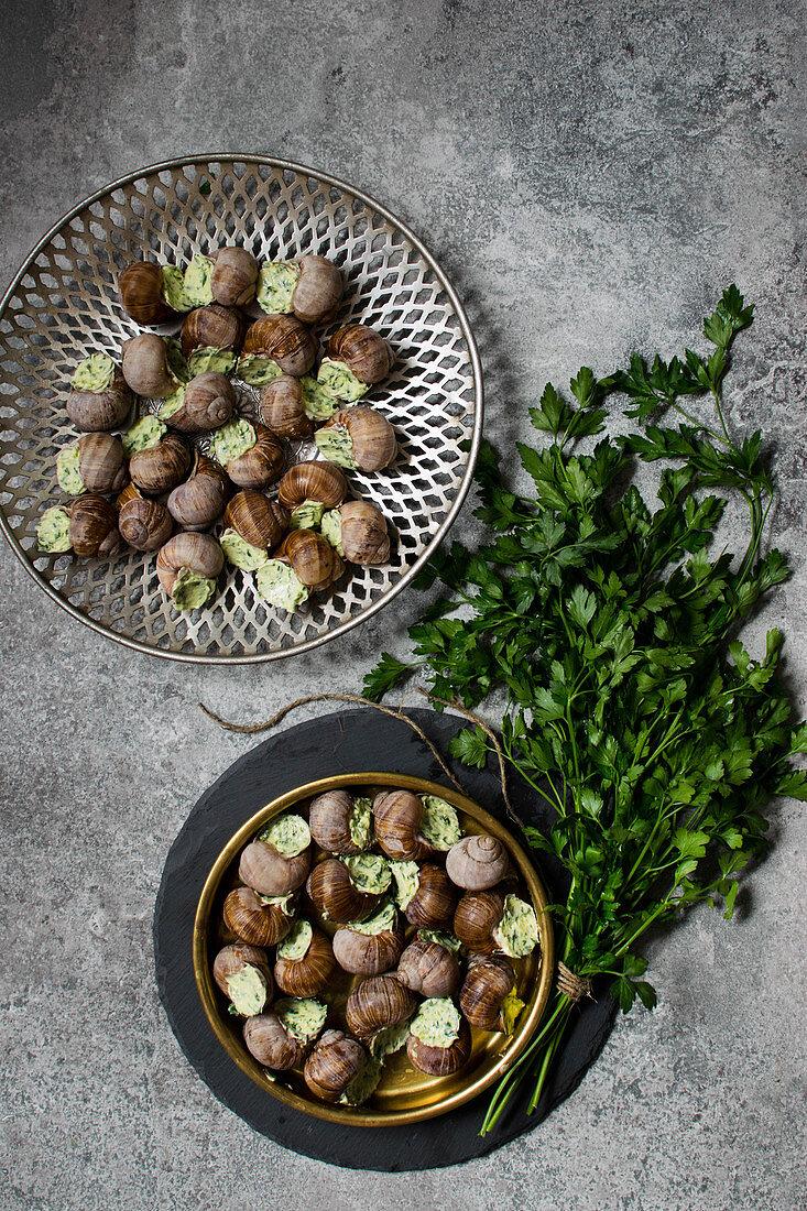 Escargot à la Bourguignonne (Snails with garlic herb butter)
