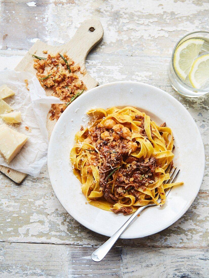 Short rib and beef skirt ragu with pasta