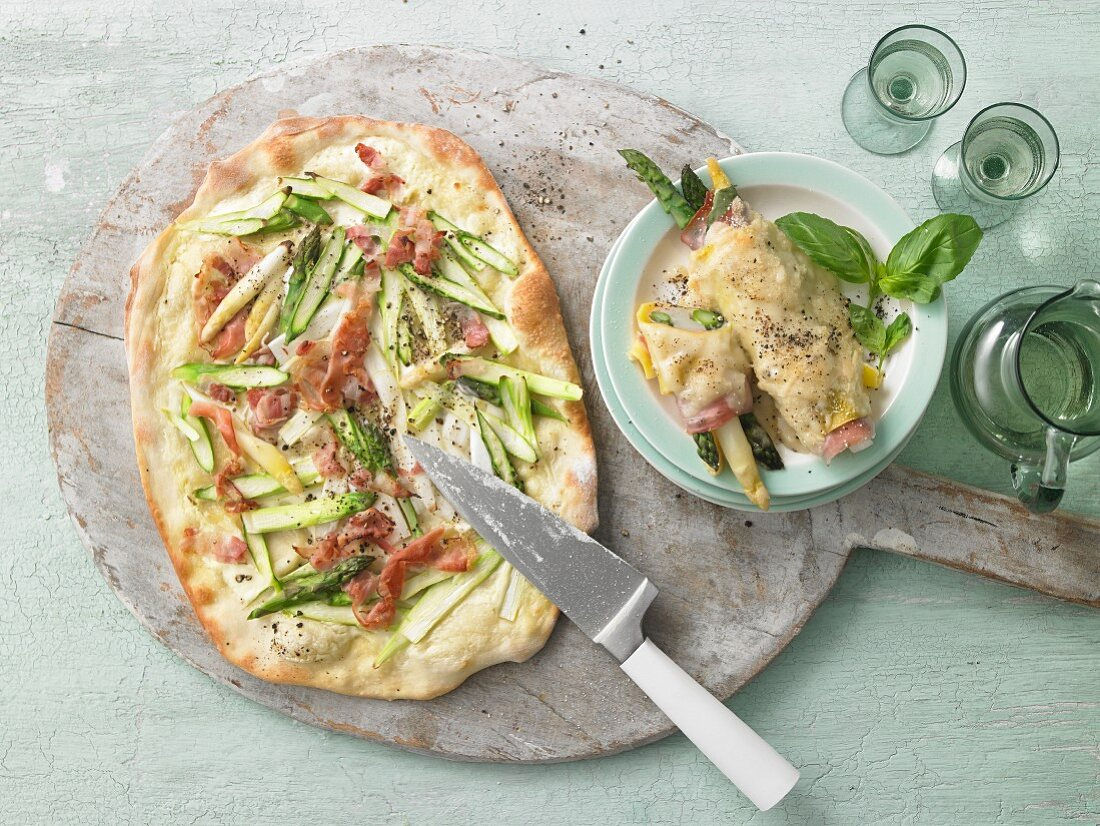 Asparagus tarte flambée and asparagus wrapped in lasagne sheets