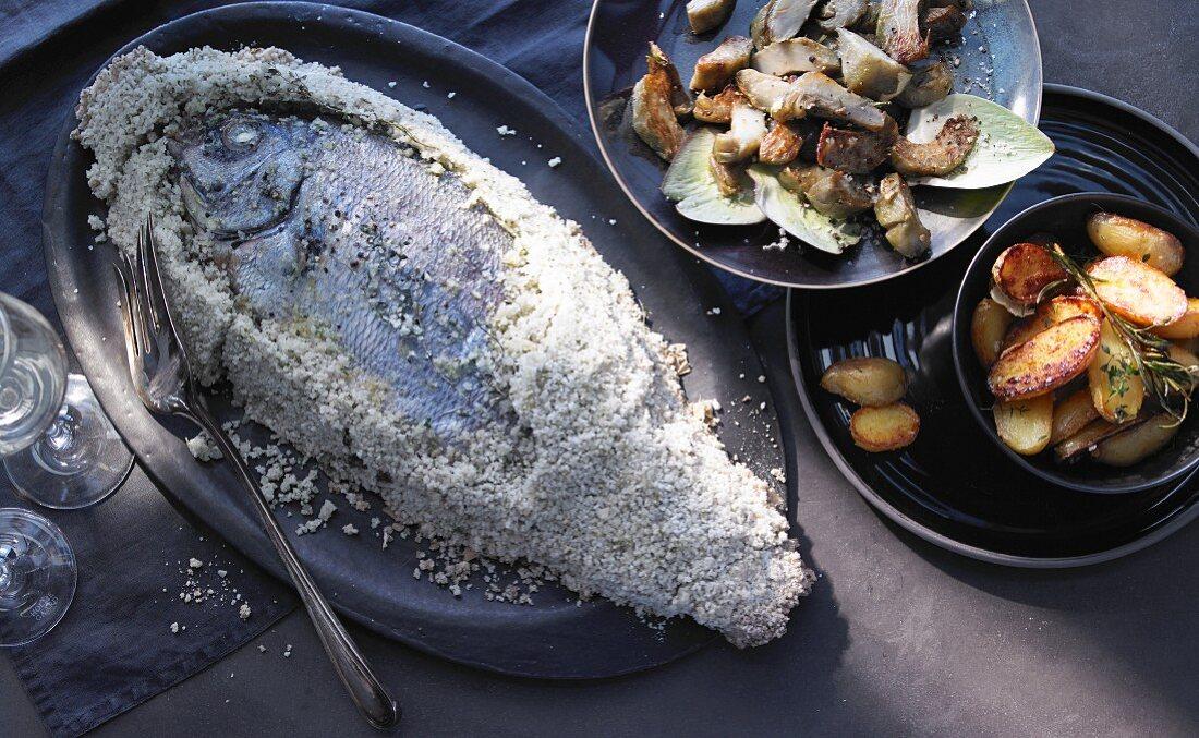 Dorade in a sea salt crust