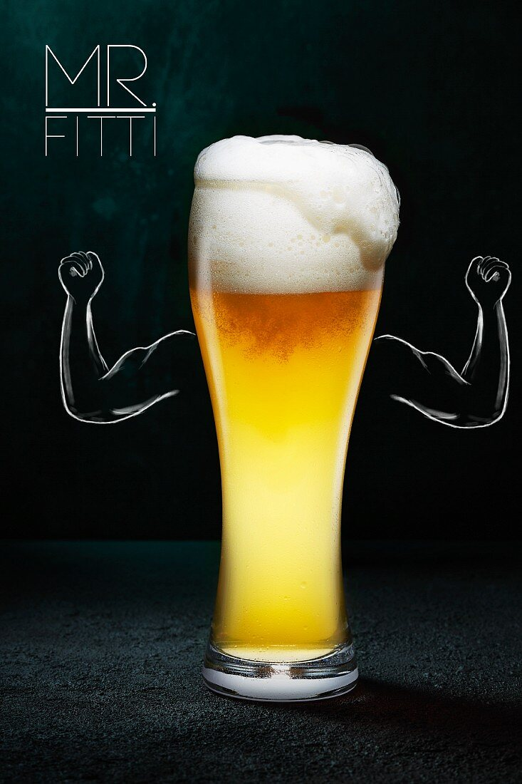 White beer in a glass with an illustration