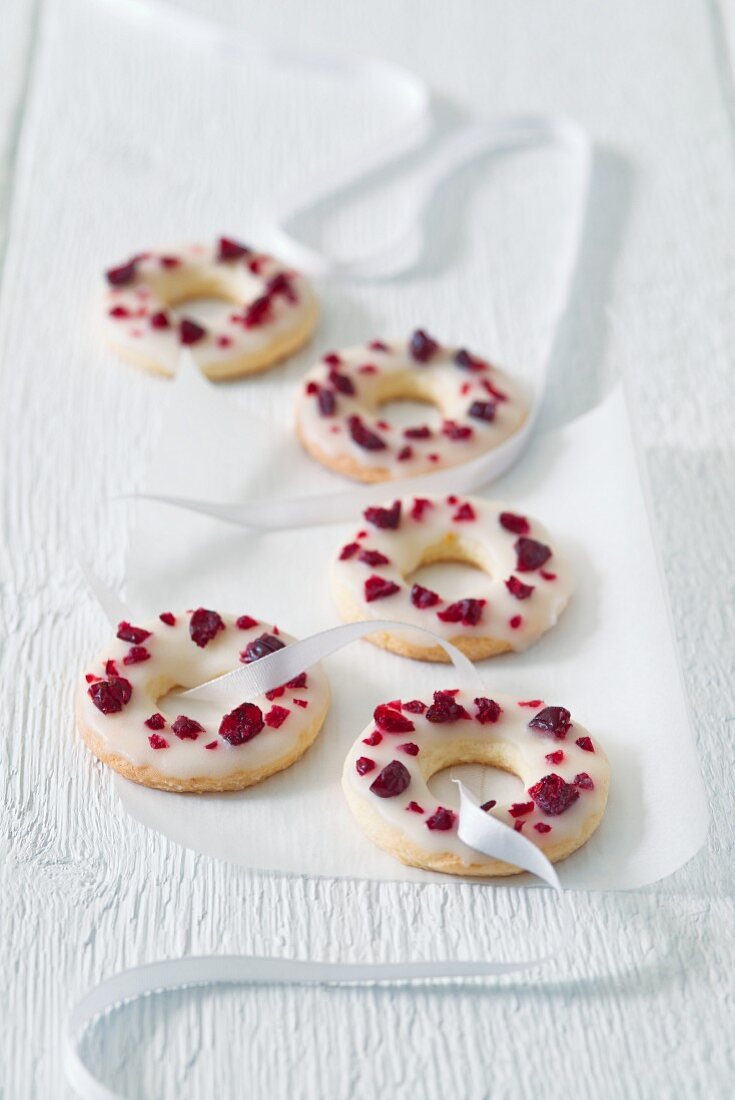 Cookies with icing and dried cranberries