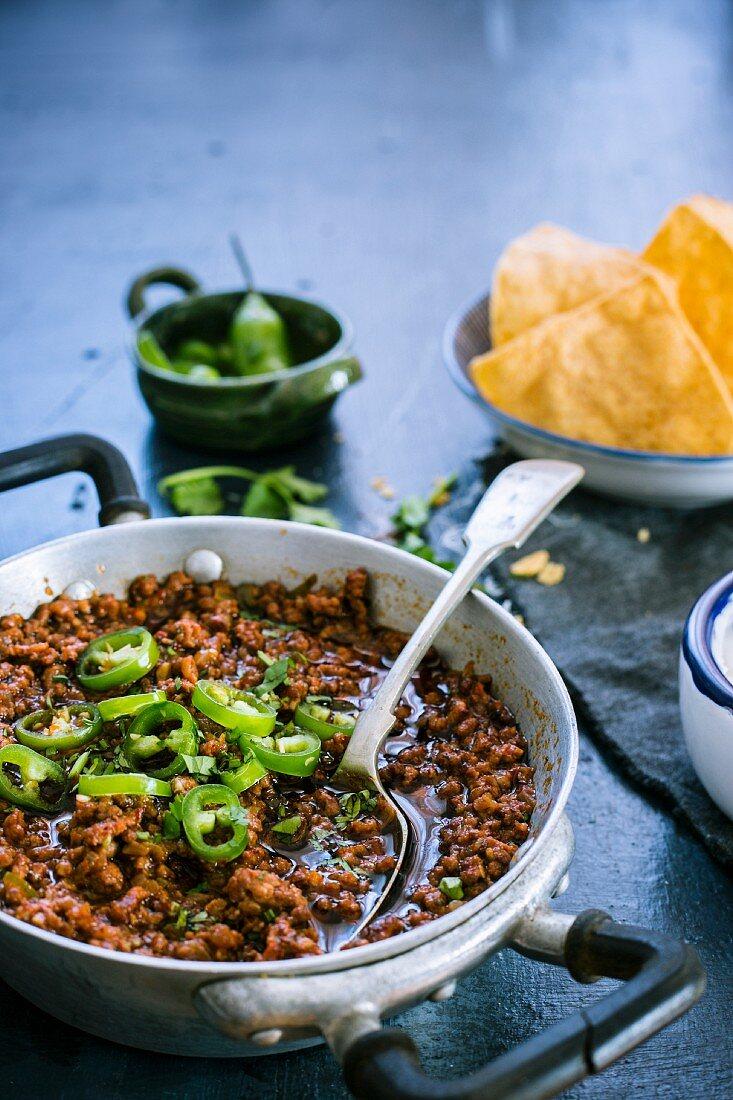 Tex mex chilli in a pan
