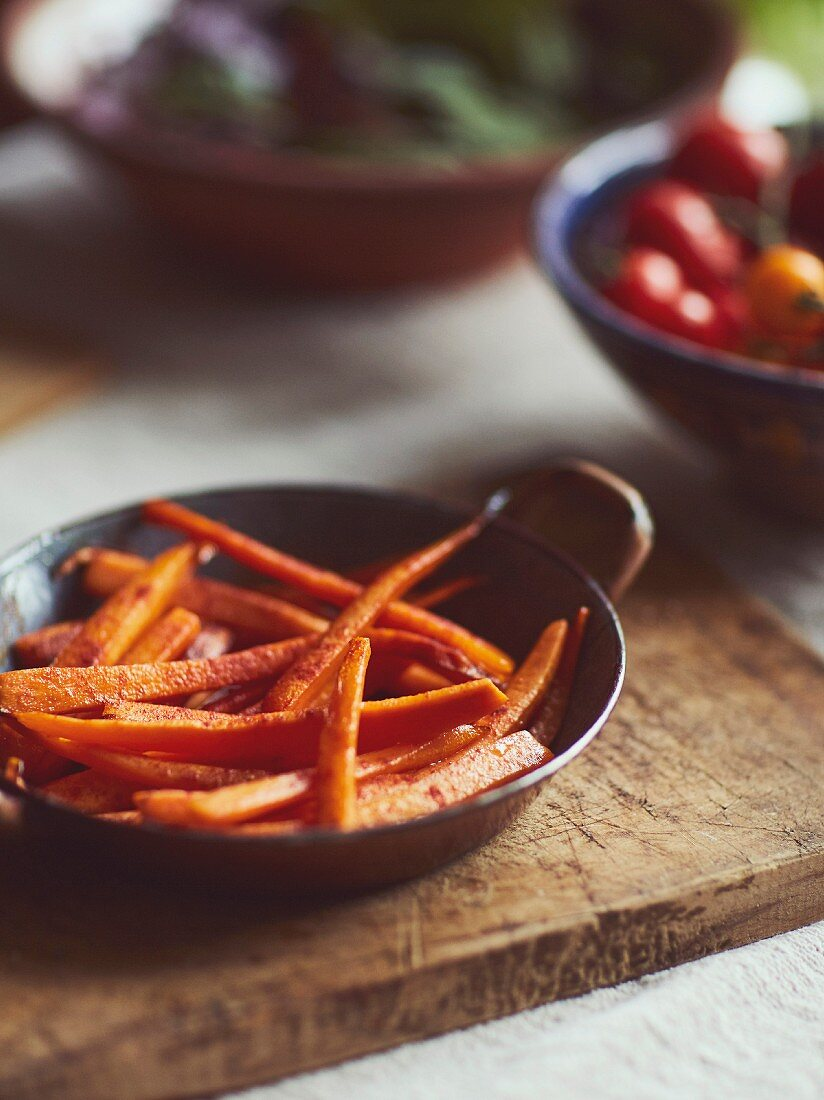Caramelized carrots in bowl
