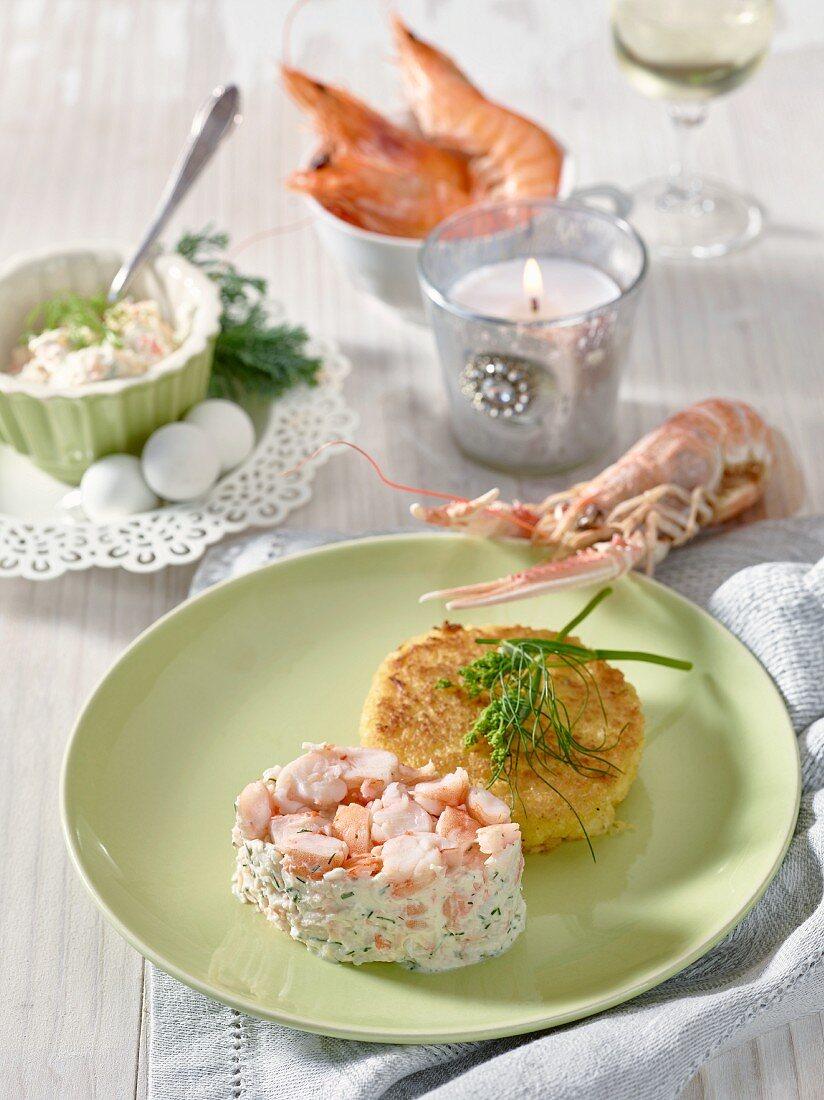 Pink prawn tartare with a potato rosti (Christmas)
