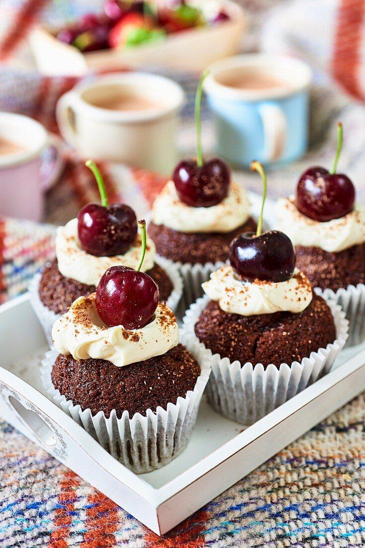 Chocolate cherry cupcakes
