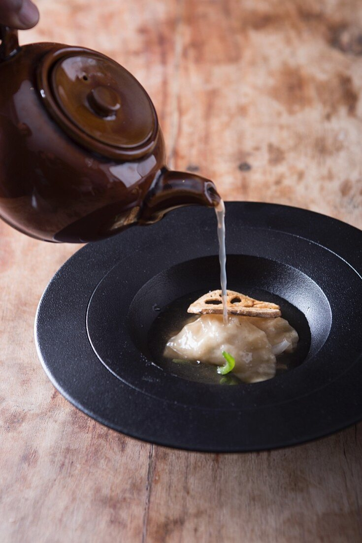 Chicken Gyoza with Crisp Lotus Stem and Clear Broth