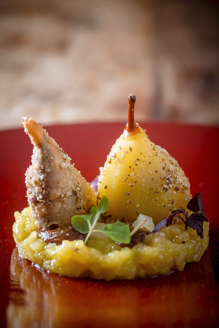 Saffron Poached William Pear with Chai soaked Date and Pear Samosa