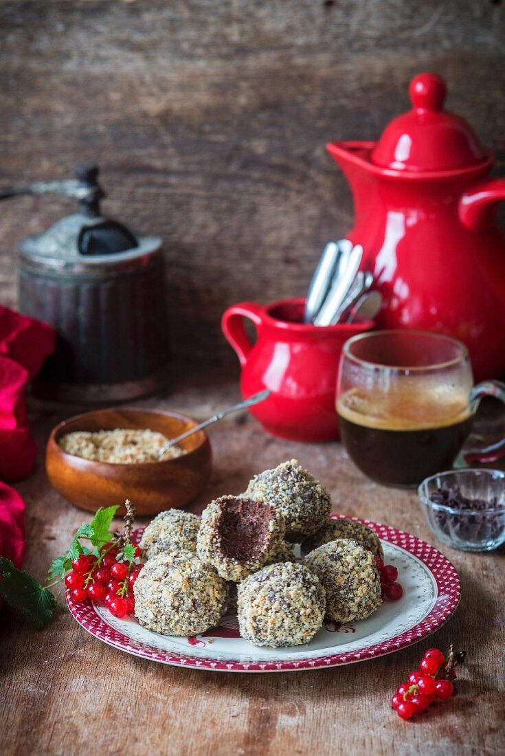 Chocolate cakepops with nuts