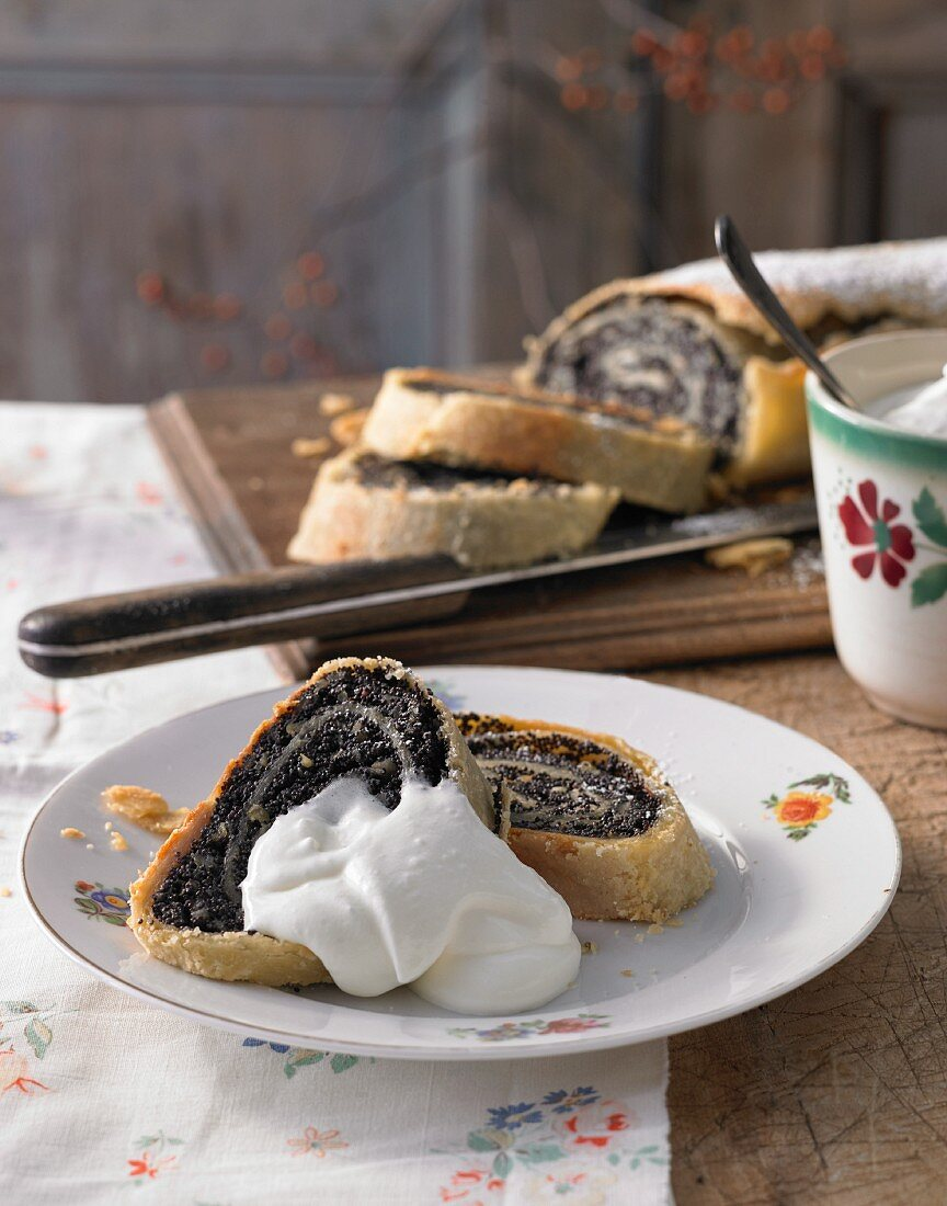 Poppy seed strudel with whipped cream (Italy)