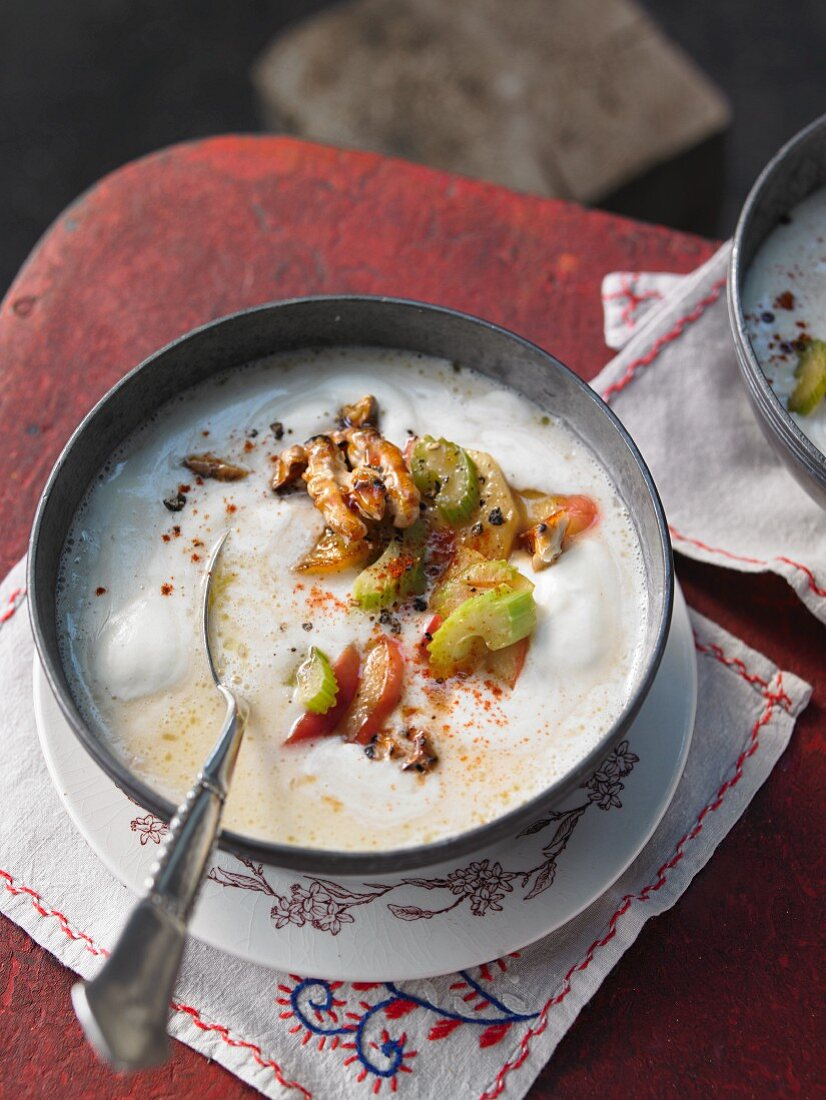 Fruit cream soup with caramelised walnuts (Austria)