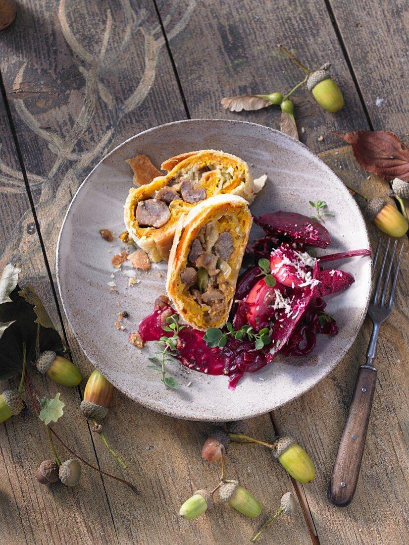 Pumpkin and leek strudel with beetroot ragout (Switzerland)