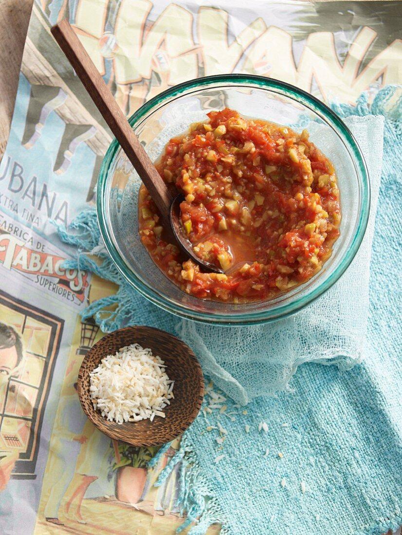 Creole sauce with tomatoes and chili