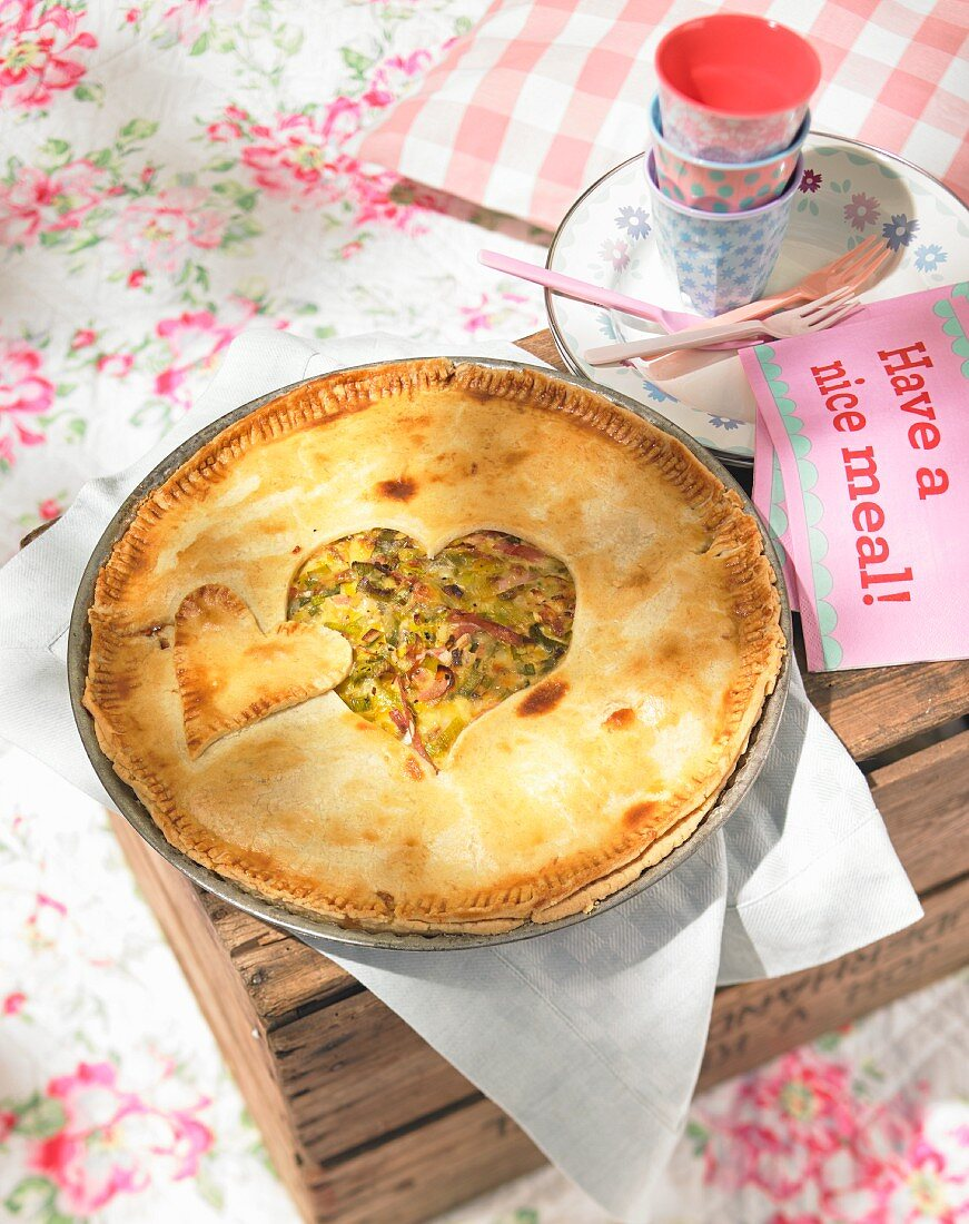 Cheese and leek pie for a summer picnic