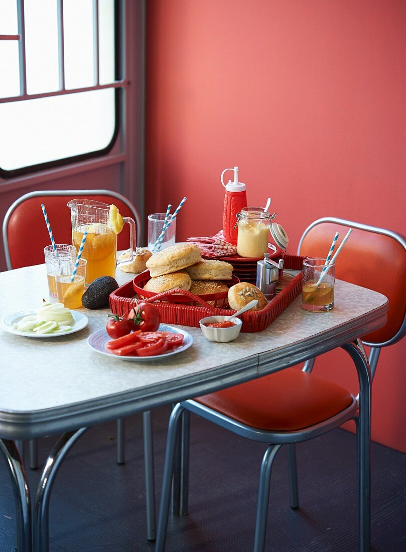 Ingredients for making hamburgers with iced tea in a diner (USA)