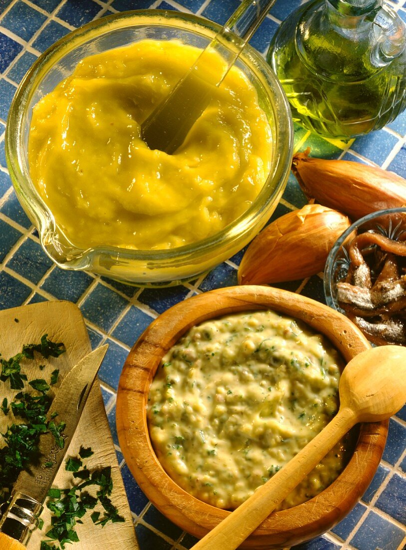 Remoulade and Aioli Sauces in Bowls