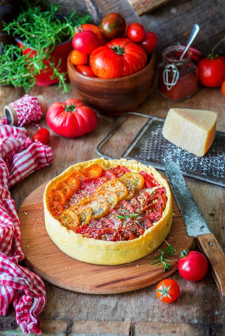 Tomato pie with cream cheese filling