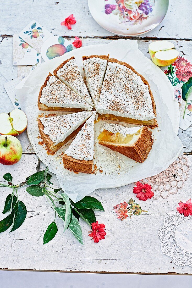 Hessen apple wine cake with a whipped cream topping